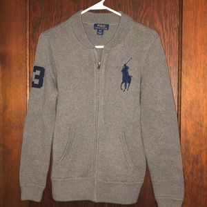 Boys gray Polo zip up sweater
